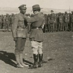 Believed to be LCpl Leekam receiving his MM from General Chaytor