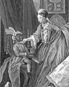 Ignatius Sancho depicted in Hogarth's Taste of the High Life
