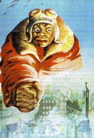Liberator - German/Italian Poster- black American airman holding his fist over a destroyed Italian City.